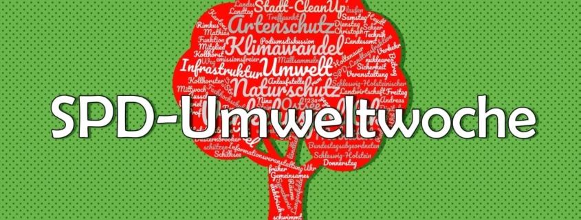 """Roter Baum auf grünem Grund, Schriftzug """"SPD-Umweltwoche"""""""