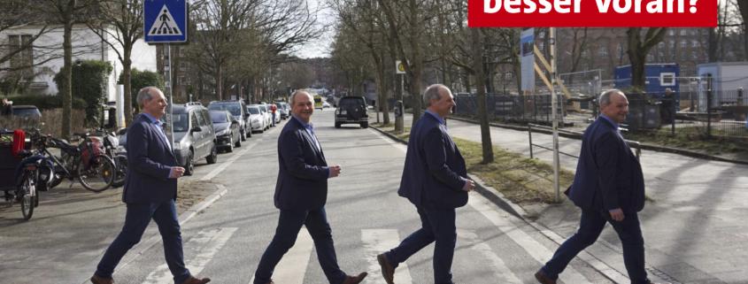 Mathias Stein geht über einen Zebrastreifen, auf dem Bild steht: Wie geht's zu Fuß besser voran?